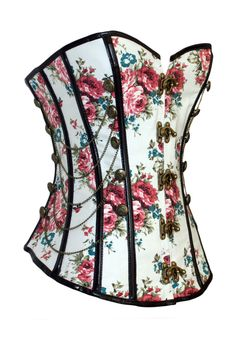 Summer Floral and white with black piping edge corset with gold chain embellishments and antique front claps.   The Violet Vixen - Floral Throwback Thursday White Corset, $54.99 (http://thevioletvixen.com/corsets/floral-throwback-thursday-white-corset/)
