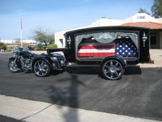 A Unique Funeral Idea: Harley Hearse - Freedom Ride of Arizona and Sonoran Skies Mortuary have teamed up to give the dedicated biker a last ride in style. Contact us for personalized arrangements. Flower Car, Big Chill, Id Design, Police Cars, Automotive Industry, Funeral, Harley Davidson, Antique Cars, Trucker Hats