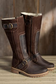 Women's Bos & Co Outercity Tall Leather Boots with Shearling Lining by Overland Sheepskin Co. (style 58104)