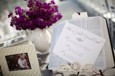 The couple wanted a bible-based reception, so we named each table after a favorite bible verse.