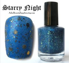 Starry Night Nail Polish 16ml Vegan  Glitter by AdorBeautySupplies, $6.00