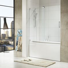 Wet Republic Paragon Bath - Oasis-E - Premium Thick Clear Tempered Glass, 60 in. W x 58 in. H, Frameless Sliding Shower Door in Chrome (Grey) (Chrome) Walk In Tubs, Walk In Bathtub, Bathtub Shower, Bathtub Doors, Frameless Sliding Shower Doors, Sliding Door, Shower Sizes, Compact Bathroom, Bath