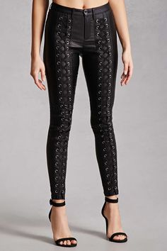 Forever 21 Strappy Metallic Shimmer Pants (Sally LaPointe)