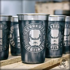 Stainless steel 16 oz. Cerakote mug with custom stencil and distressed pattern. Available at http://www.cerakoteguncoatings.com/finishes/SE-692/cerakote-stainless-cup.