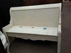 SOLD- Sleigh Bed Bench with Storage - Painted creamy white, distressed and finished in a tinted wax. ***** In Booth A6 at Main Street Antique Mall 7260 E Main St (east of Power RD on MAIN STREET) Mesa Az 85207 **** Open 7 days a week 10:00AM-5:30PM **** Call for more information 480 924 1122 **** We Accept cash, debit, VISA, Mastercard, Discover or American Express