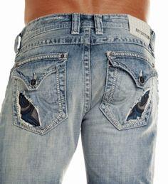 Affliction Men Jeans Cooper Cutout Fleur Flap Boot leg in Vintage Bleach Wash | Len's apparel $135.00 Affliction Clothing, Affliction Men, Cut Jeans, Men's Jeans, Men Closet, Patterned Jeans, Bleach Wash, Mens Fashion, Fashion Outfits