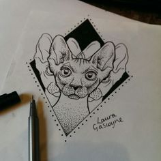 Sphynx cat tattoo design