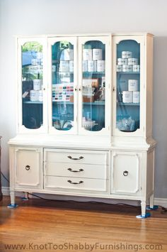 Large Wood China Cabinet Painted Off White with Blue Grey Interior
