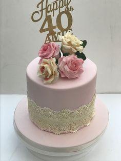 Vintage Cupcake, 40th Birthday Cakes, Vintage Lace, Rose, Desserts, Tailgate Desserts, Pink, Deserts, Postres