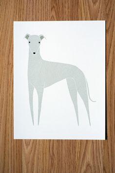 Greyhound Illustration by Gingiber on Etsy, $23.00