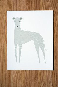 Greyhound Illustration - FREE US SHIPPING on Etsy, £14.09
