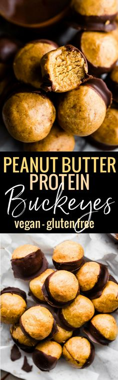 A Buckeyes Recipe Packed with Protein! These Vegan Peanut Butter Protein Buckeyes are super easy to make and coated in dairy free dark chocolate. Gluten free with a Paleo and Lower Sugar option. A classic Buckeyes Recipe with a healthyboost! No baking required  www.cottercrunch.com