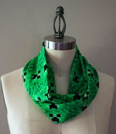 Green Pixel Zombie Inspired Infinity Scarf by StinkeeCheese #minecraft, #gamer, #geeky, #nerdy, #nerdygirl, #creeper