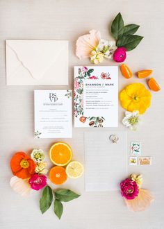 Wedding Theme for Summer Lemon Party Decor Ideas Citrus and floral wedding invitations with modern writing and acrylic menu Colorful Wedding Invitations, Wedding Invitation Design, Wedding Stationery, Invitation Ideas, Invitation Cards, Summer Wedding Venues, Summer Wedding Decorations, Party Wedding, Wedding Ideas