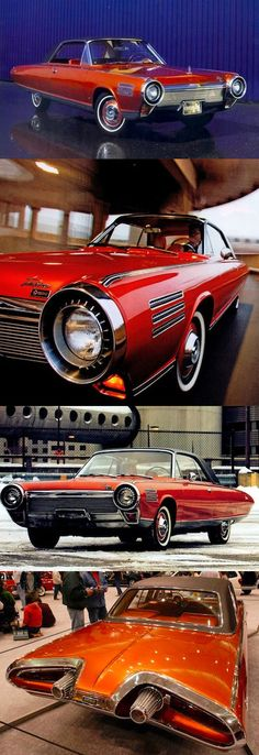 1963 Chrysler Turbine Prototype / Several hundred were GIVEN to consumers who were asked to keep a log of their impressions and suggestions for three months. Chrysler then collected them all up and destroyed them. Nice.