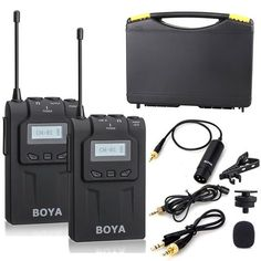 The BY-WM6 UHF Wireless Microphone System features a bodypack transmitter, a camera-mount receiver, and an omnidirectional lavalier microphone. The receiver is built with mic and headphone output jacks. The bodypack transmitter includes a MIC jack and LINE IN jack. Camcorder, Movie Camera