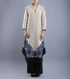 #Ivory #Linen #Tunic With #Blue #Applique #Embroidery #Taika by #Poonam #Bhagat at #Indianroots