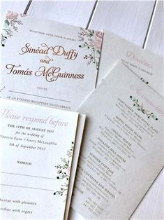 Romantic, light & bright, these venue inspired invitations for Sinead & Tomas will always make our hearts happy! Unique Wedding Invitations, Wedding Stationery, Free Delivery, Bespoke, Rsvp, Hearts, Romantic, Bright, Personalized Items