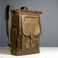 Waxed canvas backpack. Men's canvas leather backpack.