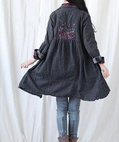 Single breasted Kleid Baumwolle / Denim long Shirt