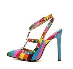 GS~LY Frauen bunt gestreiften Regenbogen Sandale Nieten wies high Heels Schuhe , color , 38