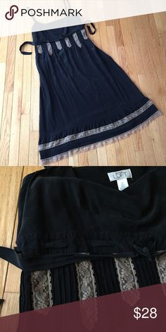 """Silk and lace dress Sz 14 Fully lined black brushed silk with cream lace overlay details and tie at the chest. 46"""" long. Smoke free. e LOFT Dresses"""