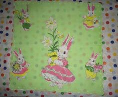 Childs-Easter-Handkerchief-Hankie-Apple-Green-Precious-PINK-Bunnies-CUTE