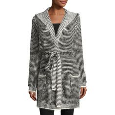 Neiman Marcus Eyelash Two-Tone Hooded Cardigan ($50) ❤ liked on Polyvore featuring tops, cardigans, tie belt, hooded top, long sleeve open front cardigan, long sleeve tops and open front cardigan