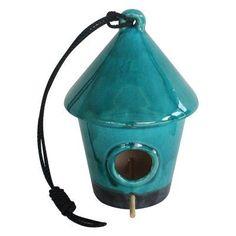 Alpine 10 in. Hanging Turquoise Ceramic Birdhouse - VTFAA106-TUR