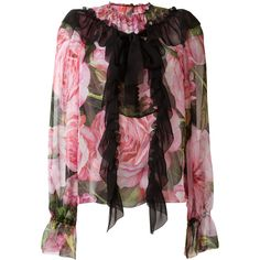 Dolce & Gabbana rose print ruffled blouse (€1.270) ❤ liked on Polyvore featuring tops, blouses, black, tie collar blouse, silk blouse, ruffle blouse, evening blouses and sheer floral blouse
