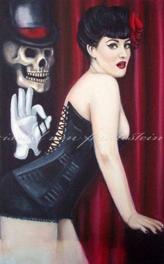 Goth pinup lowbrow art print 'India by Isobelvonfinklestein, $20.00