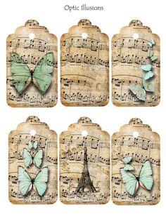 Handmade music paper tags with butterflies. Sheet Music Crafts, Music Paper, Card Tags, Gift Tags, Cards, Vintage Tags, Vintage Labels, Vintage Paper, Tag Art