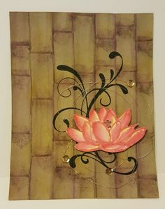 handmade card: Water Lily on Bamboo by zipperc98  ... created bamboo background with embossing folder and inks ...