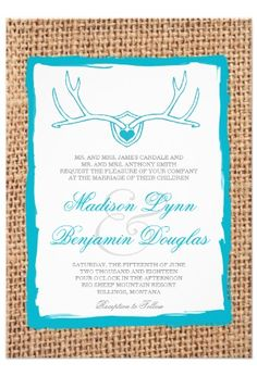Rustic Deer Antlers Teal Turquoise Burlap Wedding Invitations for a country wedding.  40% OFF when you order 100+ Invites.