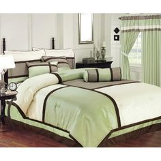Chezmoi Collection 7 Pieces Solid 3 Tone Sage,beige, with Brown Comforter Set/ Bed-in-a-bag Full Size: Amazon.com: Home & Kitchen
