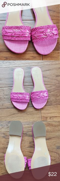Banana Republic Slides Pre-loved, worn once, flip flop slides, woven style material, leather insole, 1/2 heel, non slip on bottom Banana Republic Shoes Sandals