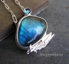 Labradorite and Sterling Silver Artisan Necklace by hodgepodgerie2