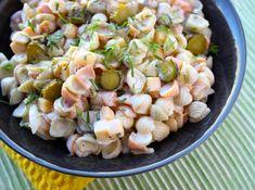 Cheddar, Pasta Salad, Potato Salad, Food And Drink, Potatoes, Dinner, Ethnic Recipes, Crab Pasta Salad, Dining