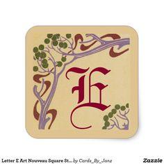 Letter E Art Nouveau Square Stickers by Janz