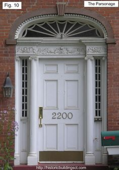 A late Federal-style door featured sidelights [as seen here] in addition to the fanlight over the door and refined Grecian detailing. Historic Buildings of Connecticut. Federal Architecture, Architecture Details, Style At Home, Federal Style House, Interior Design History, Greek Revival Home, Porch Entry, Entryway, American Interior