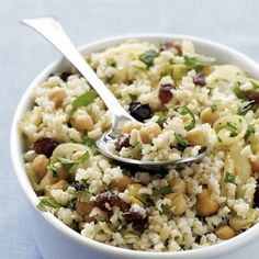 Middle Eastern Rice Salad Ingredients 2 tablespoons olive oil 1/2 Vidalia or other sweet onion, thinly sliced (about 3/4 cup) 1 (16-ounce) can chickpeas, rinsed and drained 1/2 teaspoon ground cumin 1/4 teaspoon salt Freshly ground black pepper 3 cups cooked brown rice 1/2 cup chopped pitted dates 1/4 cup chopped fresh mint 1/4 cup chopped fresh parsley Preparation 1. Heat oil in a large nonstick skillet over medium-high heat. Add onion, and cook, stirring often, about 5 minutes or until…