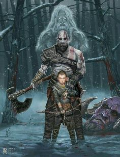 God of War fan art. This was byn.j far my favorite GoW title. What is your favorite title in the GoW series? Tableau Star Wars, God Of War Series, Character Art, Character Design, War Tattoo, Kratos God Of War, Marvel, Comic Games, Norse Mythology