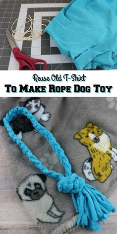No need to toss that old t-shirt out when it is stained or has a hole. Reuse it to make a rope dog toy! This is so easy to make.