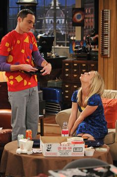 Jim Parsons as Sheldon Cooper and Kaley Cuoco as Penny.