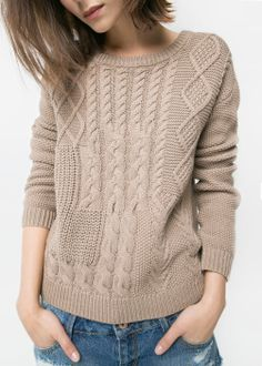 Cable-knit cotton sweater with round neck, long sleeves and ribbed edges. Aran Knitting Patterns, Cable Knitting, Knitting Designs, Cable Knit Sweaters, Knit Patterns, Hand Knitting, Knit Fashion, Sweater Fashion, Pull Torsadé