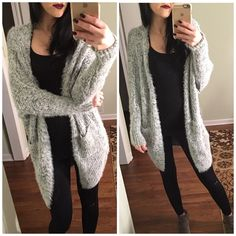 • Soft gray fuzzy cardigan • Price drop❗️The softest and cozier cardigan you have ever felt. Truly a unique texture -  60% cotton and 40% acrylic .. One size ..  Please don't purchase this listing comment below and I will create you a new listing                                                                        ❌No trades  Non smoking home  same/next day shipping Sweaters Cardigans