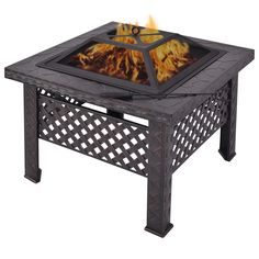 Costway 26'' Outdoor Metal Firepit Backyard Patio Garden Square Stove Fire Pit With Poker *** Visit the image link more details.