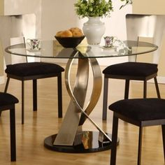Surprising Dining Room Ideas With Lovely Round Glass Top Dining Tables Design: Splendid Artistic Round Glass Top Dining Table Design With Contemporary Black Cushion Dining Chairs And Amusing Laminated Flooring Ideas ~ kidlark.com Apartment Inspiration