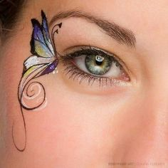 Face Painting butterfly eye. Great far painting idea for girls, teens and women... Dainty and tasteful face painting. Feminine face painting idea. #facepaintingideas