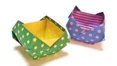 This is a video how to make origami small article container with only one piece of paper. Origami Box Tutorial, Origami Gift Box, Origami Paper Folding, Cute Origami, Origami And Kirigami, Origami Ball, Origami Bookmark, How To Make Origami, Paper Crafts Origami